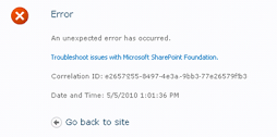 screenshot of error message