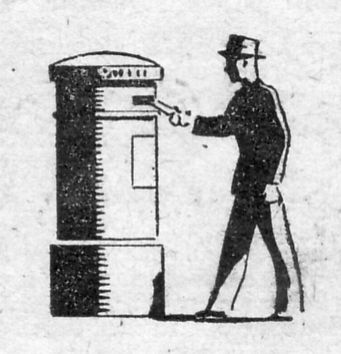 1950's style line drawing of man posting a letter
