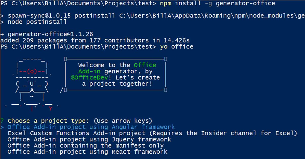 running the Yeoman generator for Office in a command window - screenshot